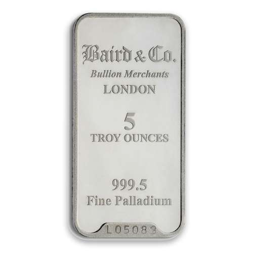 5oz Baird & Co Palladium Minted Bar