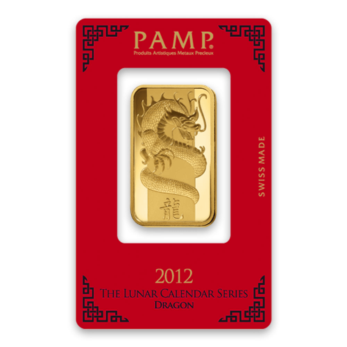 1oz PAMP Gold Bar - Lunar Dragon