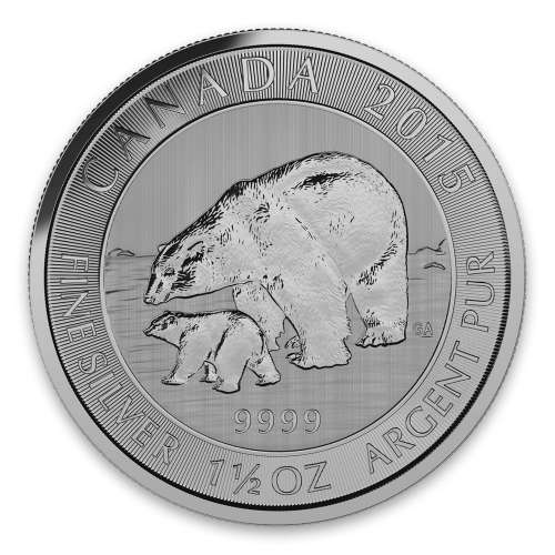 2015 1.5oz Canadian Silver Polar Bear & Cub