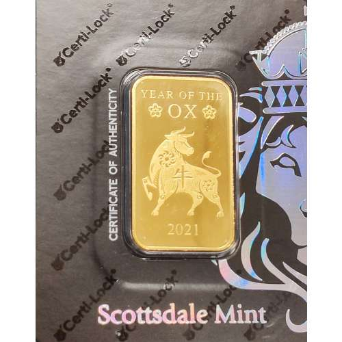 1oz Scottsdale minted Gold Bar - Year of the Ox