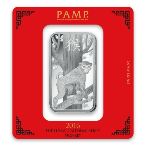 100g PAMP Silver Bar - Lunar Monkey