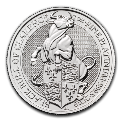 2019 Great Britain 1 oz Platinum Queen's Beasts The Bull