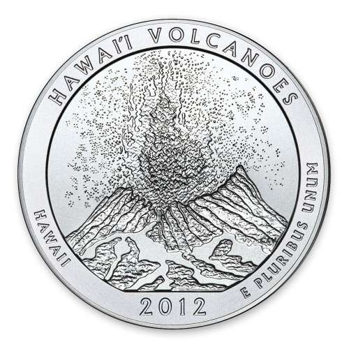 2012 5 oz Silver America the Beautiful Hawaii Volcanoes National Park