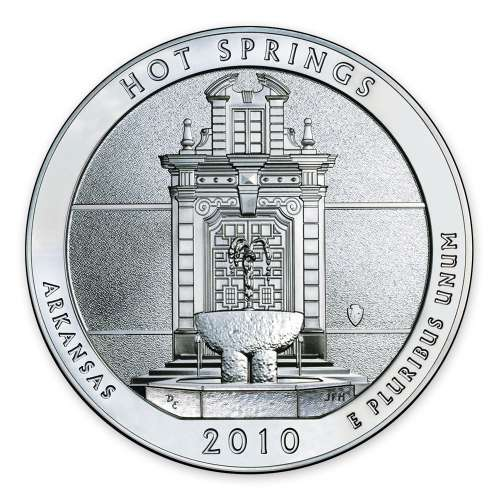 2010 America the Beautiful 5oz Silver - Hot Springs National Park, AR with OGP