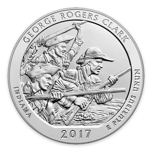 2017 5oz  Silver  America the Beautiful George Rogers Clark National Historical Park