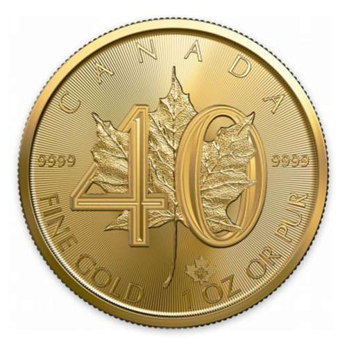 2019 1oz Canadian Gold Maple Leaf 40th Anniversary