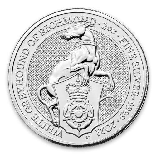 2021 2oz Silver Britain Queen's Beast: The White Greyhound