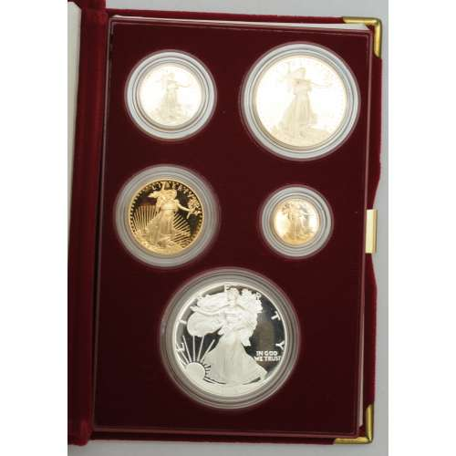 1995-W – Five Coin Set - 1/10, 1/4, 1/2, 1oz Gold, 1oz Silver Eagles   Anniversay Proof - with Original Govt Packaging